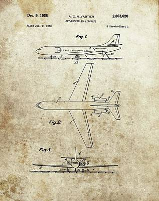 Aviators Drawing - 1958 Jet Airplane Patent by Dan Sproul