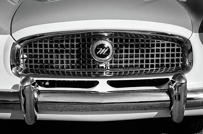 Photograph - 1958 Nash Metropolitan Hood Ornament -0218bw by Jill Reger