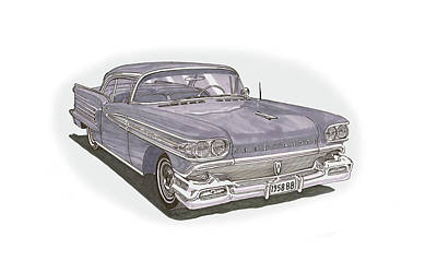 Painting - 1958 Oldsmobile 88 Hard Top Convertible by Jack Pumphrey