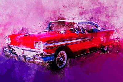 Digital Art - 1958 Oldsmobile Hardtop With Continental Kit In Tow by Chas Sinklier