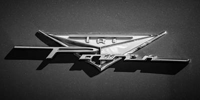 Photograph - 1958 Pontiac Bonneville Tri Power Emblem -014bw by Jill Reger