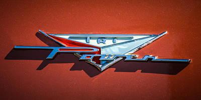 Tri Wall Art - Photograph - 1958 Pontiac Bonneville Tri Power Emblem -014c by Jill Reger