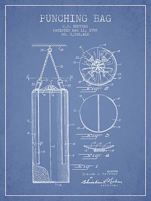 Striking Bag Digital Art - 1958 Punching Bag Patent Spbx14_lb by Aged Pixel