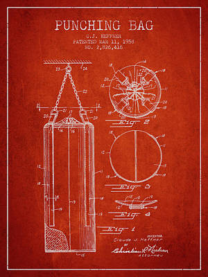 1958 Punching Bag Patent Spbx14_vr Art Print by Aged Pixel