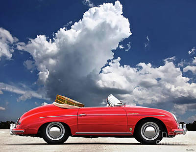 1958 Red Porsche 356a, 1600 Speedster Art Print