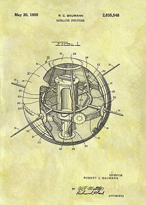 1958 Satellite Patent Art Print by Dan Sproul