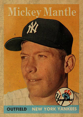 Athletes Mixed Media - 1958 Topps Baseball Mickey Mantle Card Vintage Poster by Design Turnpike