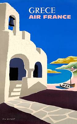 Greece Digital Art - 1959 Air France Greece Travel Poster by Retro Graphics