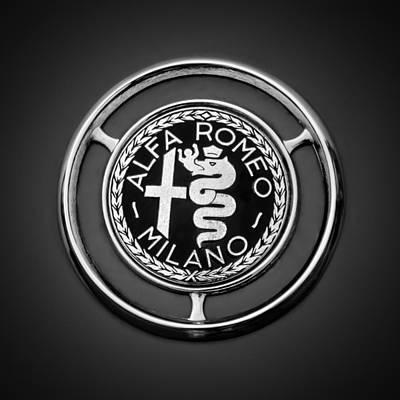 Photograph - 1959 Alfa Romeo Giulietta Sprint Emblem -0128bw3 by Jill Reger