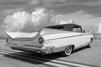 Photograph - 1959 Buick Convertible Rear In Black And White by Gill Billington