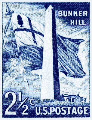 Colonial America Painting - 1959 Bunker Hill Stamp by Historic Image