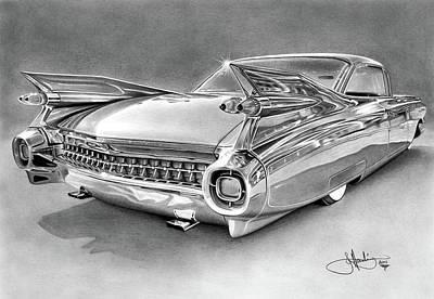 1959 Cadillac Drawing Art Print