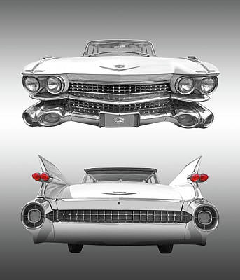Photograph - 1959 Cadillac Front And Rear Vertical by Gill Billington