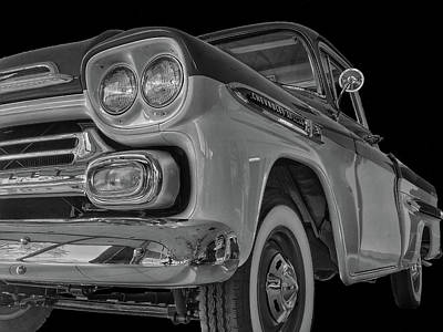 Photograph - 1959 Chevrolet Apache - Bw by Tony Baca