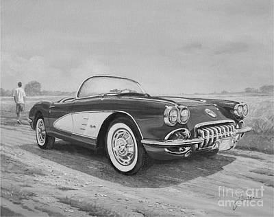 1959 Chevrolet Corvette Cabriolet In Black And White Art Print