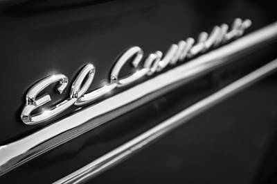 Photograph - 1959 Chevrolet El Camino Emblem -0008bw by Jill Reger