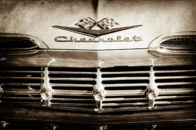Art Print featuring the photograph 1959 Chevrolet Impala Grille Emblem -1014s by Jill Reger