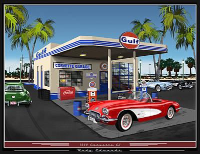 Chevrolet Corvette Painting - 1959 Corvette Gulf Station by Rudy Edwards