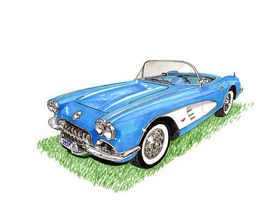 Painting - 1959 Corvette Roadster by Jack Pumphrey