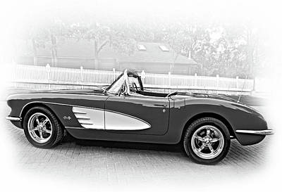 Car Photograph - 1959 Corvette - Vignette Bw by Steve Harrington