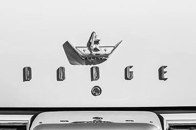 Coronet Photograph - 1959 Dodge Coronet Emblem -0916bw by Jill Reger