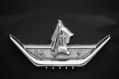 Photograph - 1959 Dodge Custom Royal Super D 500 Emblem -0230bw by Jill Reger