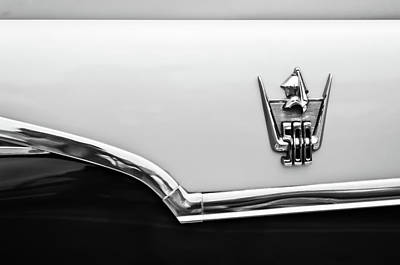 Photograph - 1959 Dodge Custom Royal Super D 500 Emblem -0245bw by Jill Reger