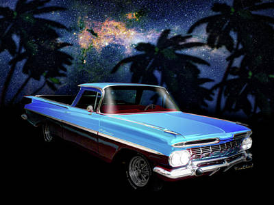 1959 El Camino 1st Generation Art Print by Chas Sinklier