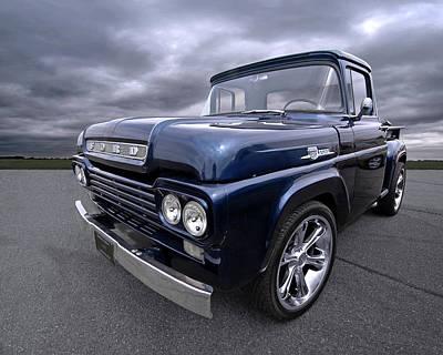 Photograph - 1959 Ford F100 Dark Blue Pickup by Gill Billington