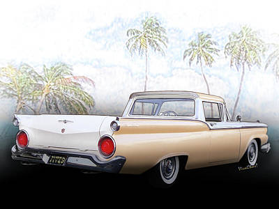 1959 Ford Ranchero 1st Generation Art Print by Chas Sinklier