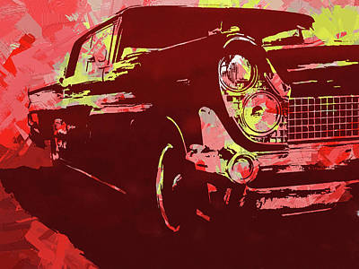 Digital Art - 1959 Lincoln Continental Red Pop by David King