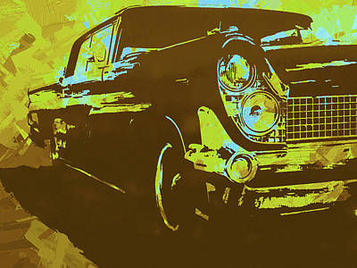 Digital Art - 1959 Lincoln Continental Yellow Pop by David King
