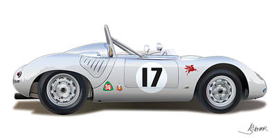 Vintage Digital Art Digital Art - 1959 Porsche Type 718 Rsk Spyder by Alain Jamar