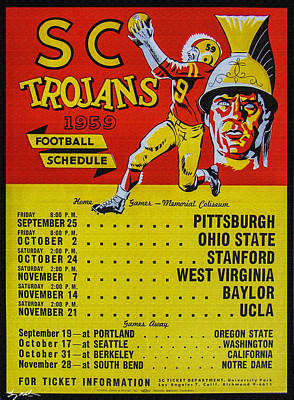 Southern Universities Digital Art - 1959 Sc Trojans Poster - 0il by Tommy Anderson