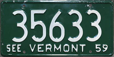 Vermont Mixed Media - 1959 See Vermont Vintage State License Plate by Design Turnpike