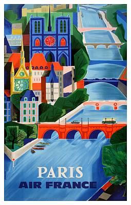 Notre Dame Digital Art - 1960 Air France Paris Bridges Travel Poster by Retro Graphics