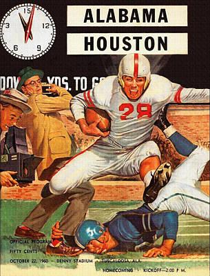 1960 Alabama V Houston Football Program Art Print