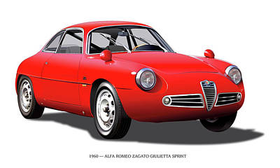 Digital Art - 1960 Alfa Romeo Zagato Giulietta Sprint by Alain Jamar
