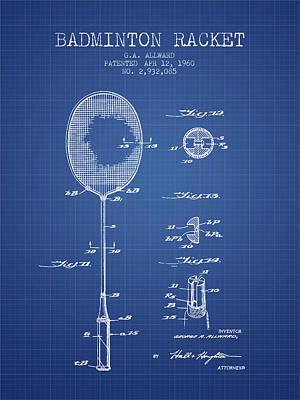 Badminton Digital Art - 1960 Badminton Racket Patent Spbm01_bp by Aged Pixel