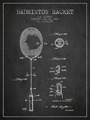 Badminton Digital Art - 1960 Badminton Racket Patent Spbm01_cg by Aged Pixel