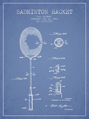 Badminton Digital Art - 1960 Badminton Racket Patent Spbm01_lb by Aged Pixel