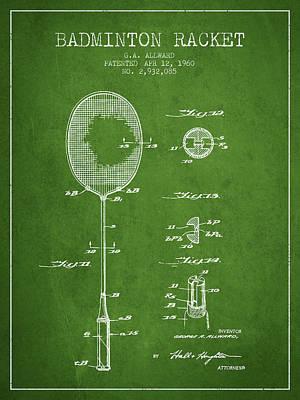 Badminton Digital Art - 1960 Badminton Racket Patent Spbm01_pg by Aged Pixel