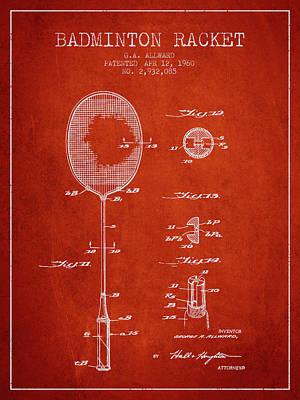 Badminton Digital Art - 1960 Badminton Racket Patent Spbm01_vr by Aged Pixel