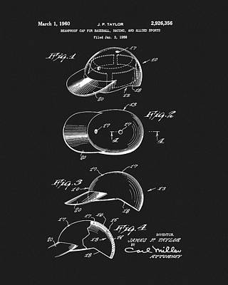 Drawing - 1960 Baseball Hat Patent by Dan Sproul