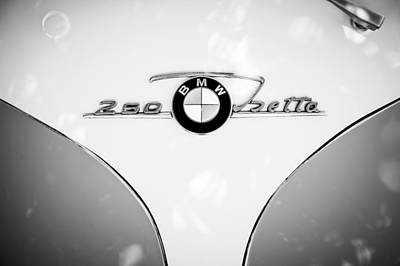 Photograph - 1960 Bmw Isetta Coupe Emblem -0966bw by Jill Reger