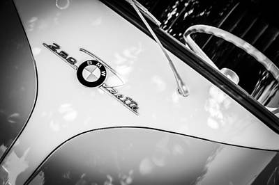 Photograph - 1960 Bmw Isetta Coupe Emblem -0975bw by Jill Reger