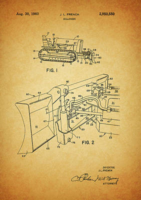 1960 Mixed Media - 1960 Bulldozer Patent by Dan Sproul