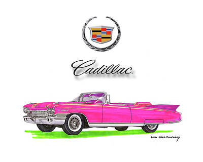 Cruising On Yachts Drawing - 1960 Cadillac Eldorado Biarritz Convertible by Jack Pumphrey