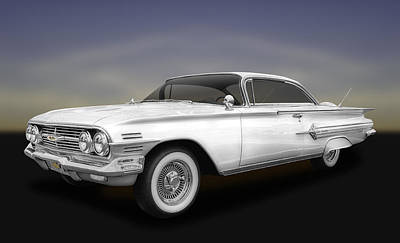 Photograph - 1960 Chevrolet Impala 2-door Hardtop  -  60chimpwh600 by Frank J Benz