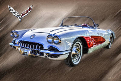 Digital Art - 1960 Corvette Convertible - C1 With 3d Badge  by Serge Averbukh